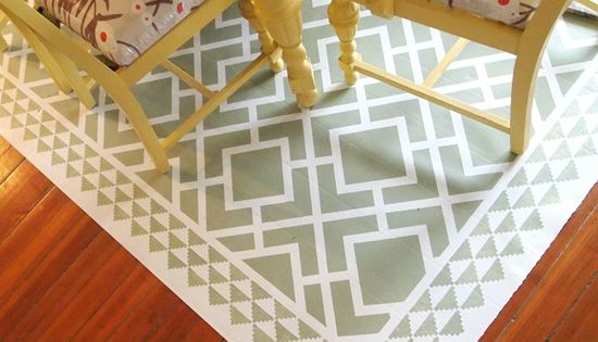 Paint A Remnant Of Linoleum To Look Like An Area Rug For