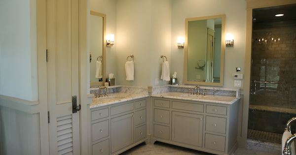 L shape double vanity master bathroom pinterest for Bathroom l shaped vanities