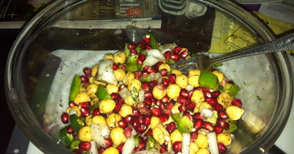salad: fresh pomegranate seeds, chickpeas, green onion, grated ginger ...