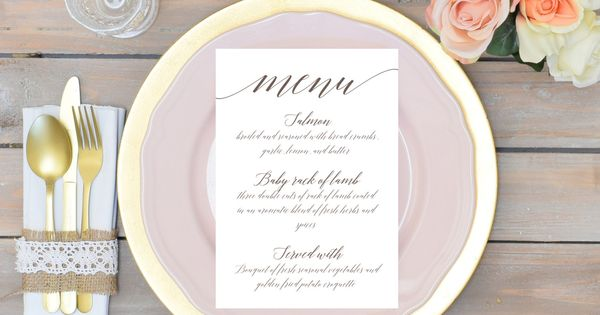 Printable Wedding Event Menu Card Template Cursive Modern