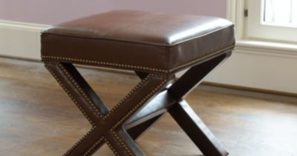 Leather X Bench With Aged Brass Nailheads Ballard Designs Desk Stool And Ottoman Double Duty X Bench Brass Nailheads Furniture