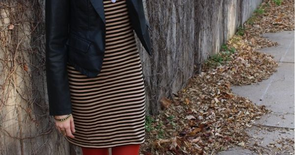 Cute winter outfit: stripes, bright tights, and a leather jacket