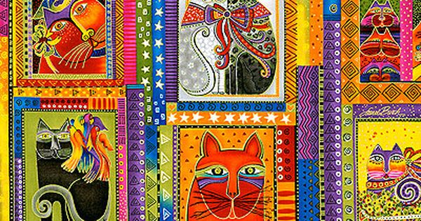 Fabulous Felines Fabric Panel By Laurel Burch Must Have