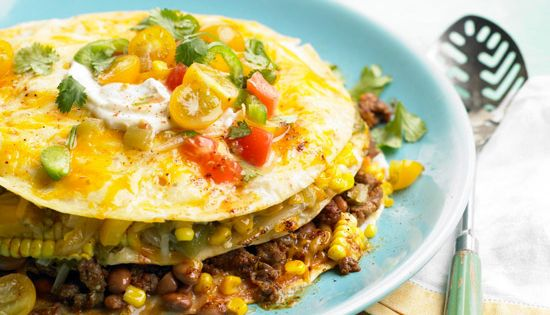Stacked Sweet Corn, Bean, and Beef Casserole - yum! More summer casserole