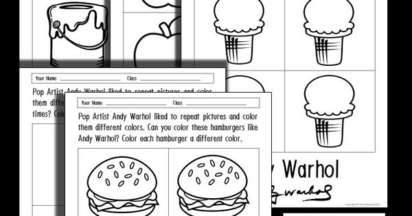 FREE Andy Warhol coloring sheets