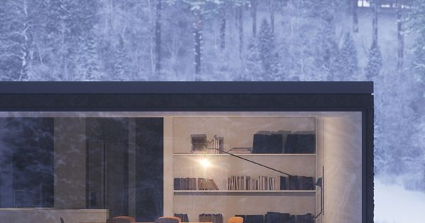 Floor to ceiling windows in modern home- set in snow forest