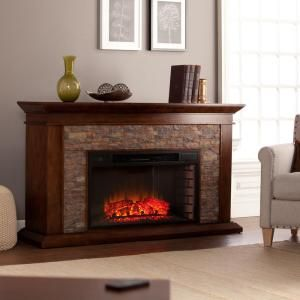 Home Decorators Collection Highland 50 In Faux Stone Mantel Electric Fireplace In Gray 103058 Stone Electric Fireplace Electric Fireplace Fireplace Decor