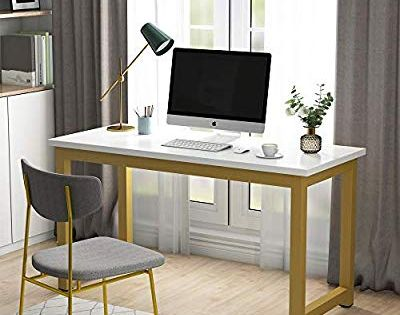 Amazon Com Tribesigns Modern Computer Desk 55 Inches Large Office Desk Computer Table Study Writing Desk For Large Office Desk Office Desk White Desk Office