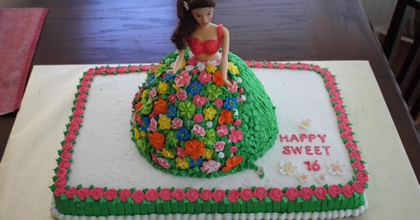 Barbie Doll On Sheet Cake Hawaiian Birthday Cake Ideas