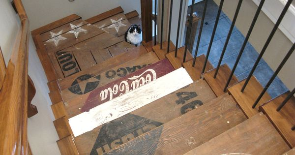 Funky Junk Interiors painted wood crate stairs great for basement stairs