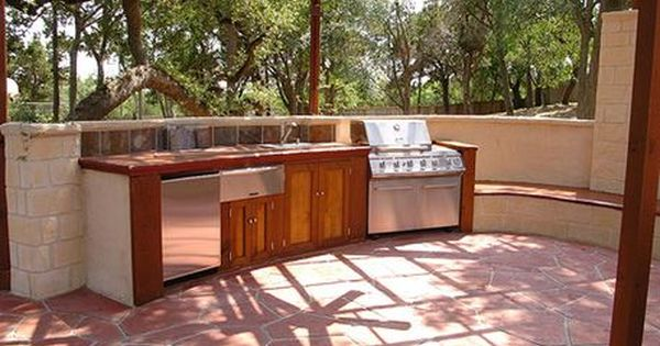 Outdoor kitchen idea on a budget summer grilling grill for Backyard kitchens on a budget