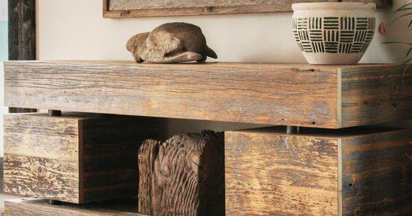 Meuble t l en bois de grange home pinterest meuble for Meuble bois de grange