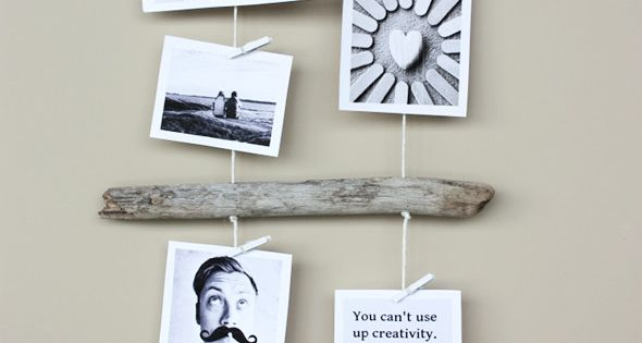 DIY Driftwood Photo Display. Very cool to get drift wood from a