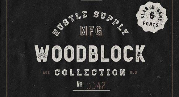 Woodblock Collection – Sans & Slab – For Restaurant Menus & Signage, Pubs, Bars, Tattoo Shops, Barber Shops & Butcher Shops
