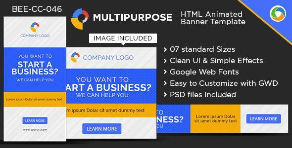 Html5 Multi Purpose Banners Gwd 7 Sizes Google Web Designer Web Design Web Design Quotes