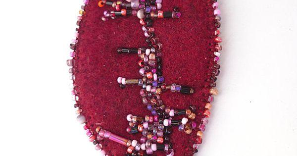 Leaf v necklace fiber art burgundy felt bead embroidery