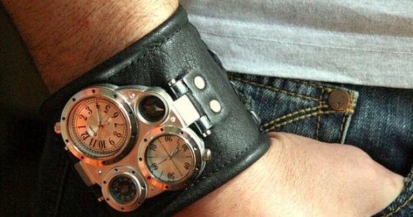 Mens wrist watch Leather bracelet Pathfinder- SALE - Worldwide Shipping - Steampunk Watches | Raddest Men's Fashion Looks On The Internet: http://www.raddestlooks.org