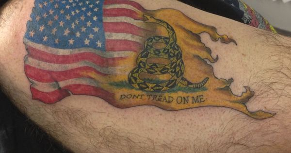 American flag fading into the don 39 t tread on me tattos for Tattoo shops in winston salem nc
