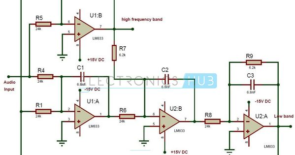 Active Audio Crossover Circuit Circuit diagram, Rasberry