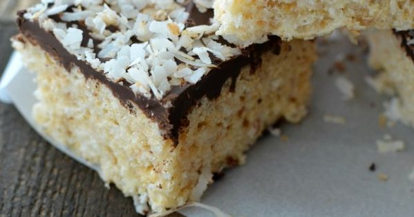 Toasted Coconut & Chocolate Rice Krispie Treat | Coconut ...