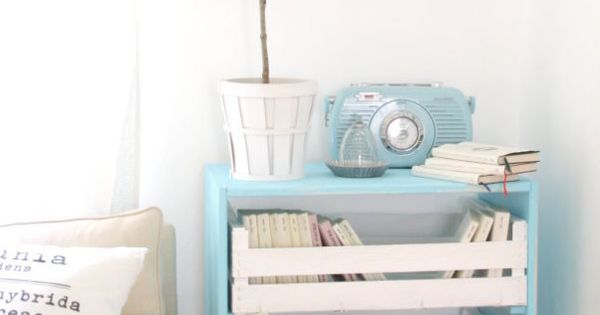 painted crates as drawers, love the idea but I might need help