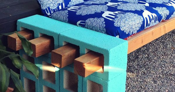 cinderblock and wood outdoor seating. DIY Cool idea for an outdoor bench.