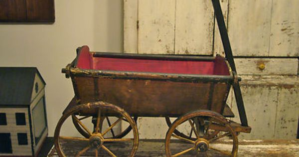 1930/'s Horse and Wagon Childs Pull Toy Antique American Folk Art Primitive Milk Bottles