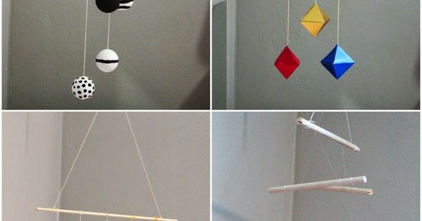 Montessori Infant Mobiles -- Visual Series. DIY Munari, Octahedron, Gobbi and Dancers