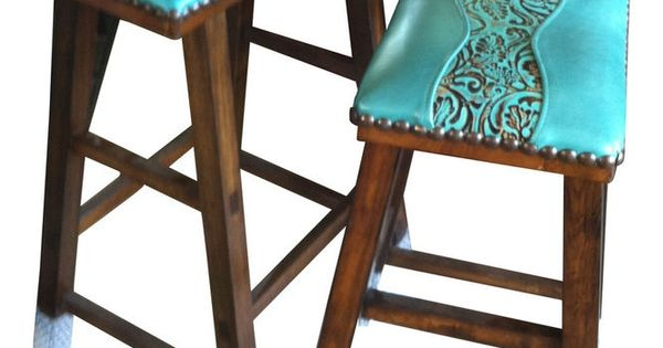 Turquoise Leather Bar Stools Tooled Turquoise Leather