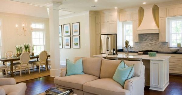open concept with the kitchen living room and dining room