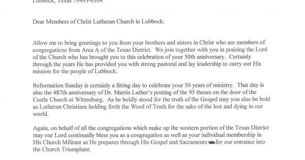 50th church anniversary letter