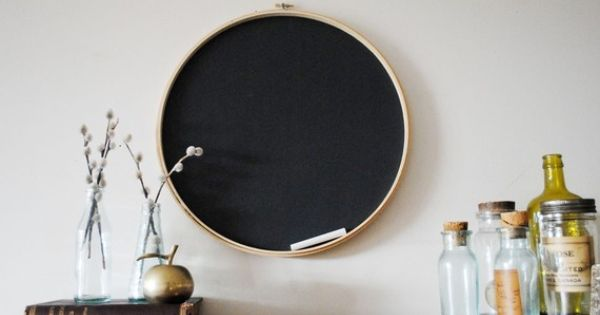 love this embroidery hoop with chalkboard painted backing!