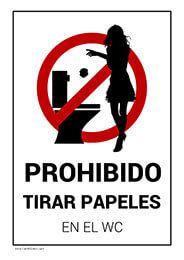 Prohibido Tirar Papeles Wc Women Bar Restaurante Escuela Carteles De Bano Carteles Para Negocios Letreros Para Banos