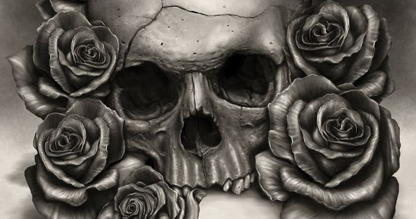 Skull and Roses. Wanted to paint an more realistic skull ...