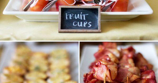 Brunch Party: Fruit cups, mini quiche & bacon skewers