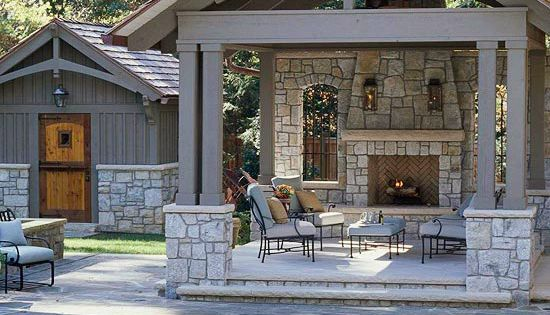 backyard retreat. patio. fireplace. covered deck. beam detail. stonework. match pool house