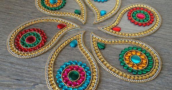 Big colorful indian rangoli in paisley corporate diwali for Indoor diwali decoration