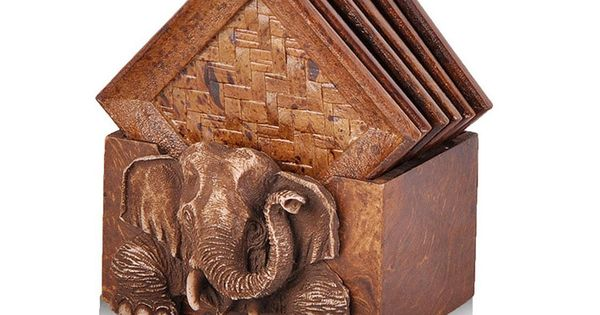 Natural Bamboo Rattan Coasters Set Elephant Relief Container