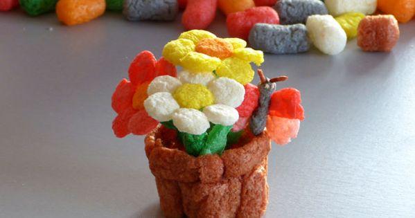 bricolage fleurs en pot en flocons de play mais. Black Bedroom Furniture Sets. Home Design Ideas