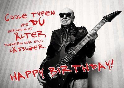 Cooler Alter Mann Mit Gitarre In Lederjacke Happy Birthday Spruch