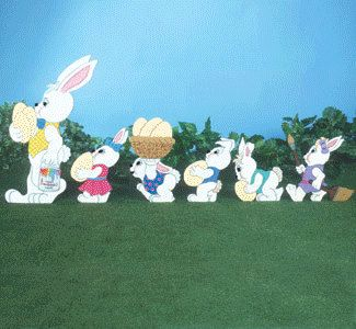 Easter Bunny Parade Set Of 6 Bunnies Outdoor Wood Yard Art Lawn Decoration Easter Outdoor Easter Bunn Easter Yard Art Easter Parade Easter Yard Decorations