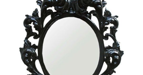 Baroque inspired wall mirror in glossy black product for Baroque resin mirror
