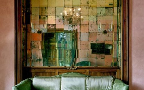 Cool vintage mirror tile wall.