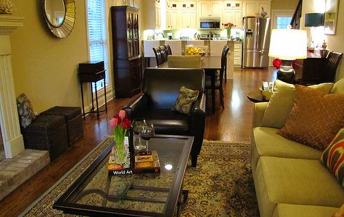 idea for long narrow living roomdining roomkitchen set up