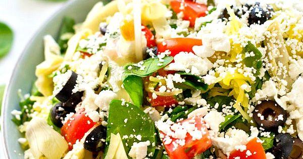Greek Spaghetti Squash Salad with Lemon Garlic Dressing   Recipe