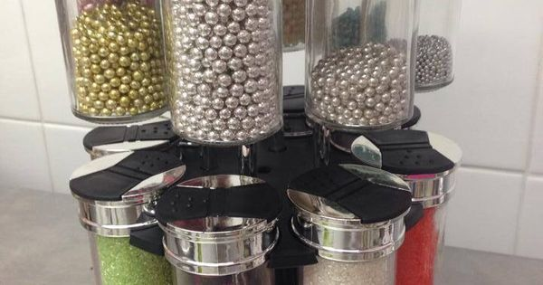 Cake decorations storer made from Kmart spice rack Huset ...
