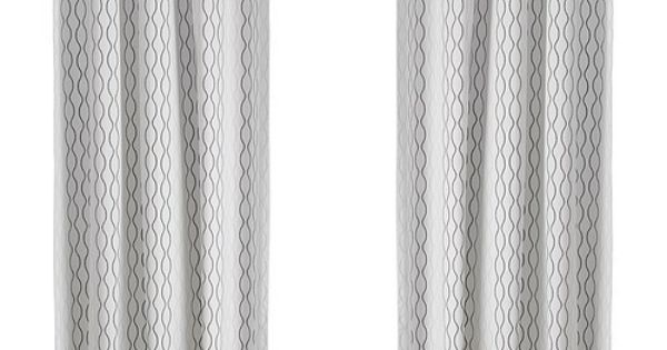Brand New Ikea Henny Rand 2 Panels Window Curtains 57x98 Drapes White Brown Gray Window