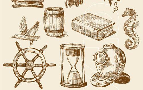 Vintage nautical design elements conch!