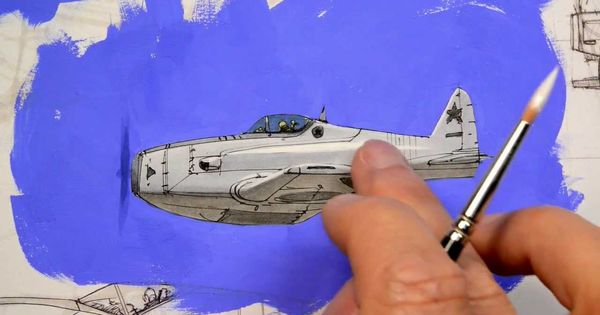 airplane sketch + gouache by Mr Scott Robertson