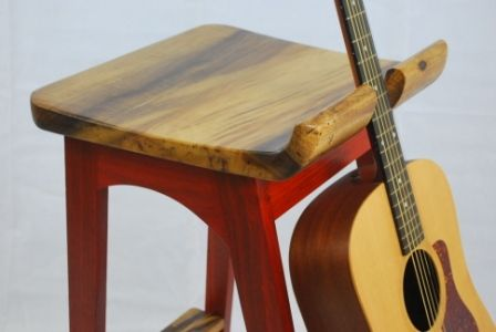 The Stool Frame Is Padauk And The Seat Guitar Supports And Foot Rest Are All Carved From A Solid Piece Of Oregon Myrtle Wood I Fine Woodworking Stool Wood